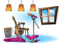 Cartoon vector illustration interior music room with separated layers. In 2d graphic Royalty Free Stock Photography