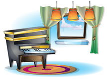 Cartoon vector illustration interior music room with separated layers. In 2d graphic Stock Photo