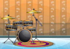 Cartoon vector illustration interior music room with separated layers. In 2d graphic Royalty Free Stock Photos