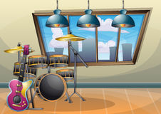 Cartoon vector illustration interior music room with separated layers. In 2d graphic Royalty Free Stock Images
