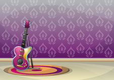 Cartoon vector illustration interior music room with separated layers. In 2d graphic Stock Photography
