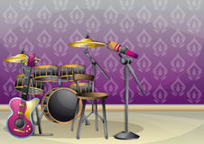 Cartoon vector illustration interior music room with separated layers. In 2d graphic Stock Photos