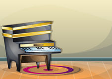 Cartoon vector illustration interior music room with separated layers. In 2d graphic Royalty Free Stock Photo