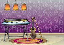 Cartoon vector illustration interior music room with separated layers. In 2d graphic Stock Images