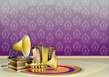Cartoon vector illustration interior music room with separated layers. In 2d graphic Royalty Free Stock Image