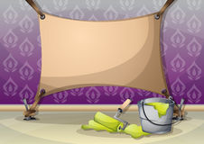 Cartoon vector illustration interior painting wall with separated layers Royalty Free Stock Photo