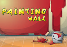 Cartoon vector illustration interior painting wall with separated layers Royalty Free Stock Photos