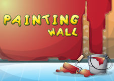 Cartoon vector illustration interior painting wall with separated layers Royalty Free Stock Photography