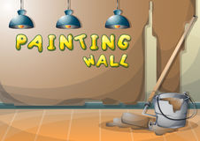 Cartoon vector illustration interior painting wall with separated layers Stock Photos