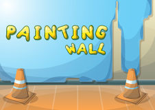 Cartoon vector illustration interior painting wall with separated layers. In 2d graphic Stock Images