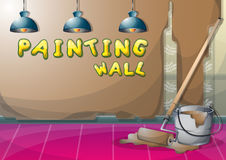 Cartoon vector illustration interior painting wall with separated layers. In 2d graphic Royalty Free Stock Photography