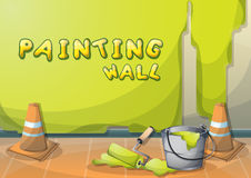 Cartoon vector illustration interior painting wall with separated layers. In 2d graphic Royalty Free Stock Photo