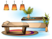 Cartoon vector illustration interior spa room with separated layers Royalty Free Stock Photo