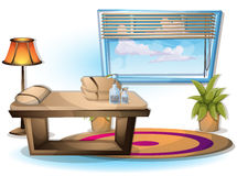 Cartoon vector illustration interior spa room with separated layers Royalty Free Stock Images