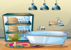 Cartoon vector illustration interior spa room with separated layers Stock Photo