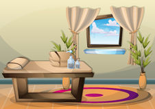 Cartoon vector illustration interior spa room with separated layers Royalty Free Stock Photos