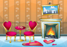 Cartoon vector illustration interior valentine room with separated layers. In 2d graphic Royalty Free Stock Photo