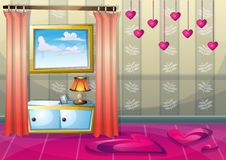 Cartoon vector illustration interior valentine room with separated layers. In 2d graphic Royalty Free Stock Photos