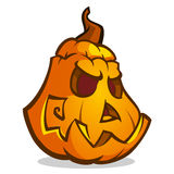 Cartoon vector illustration of a Jack-O-Lantern pumpkin curved in a scary expression, isolated on white. Royalty Free Stock Photos