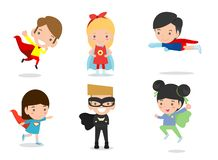 Cartoon vector illustration of Kid Superheroes wearing comics costumes,Kids With Superhero Costumes set, kids in Superhero costume royalty free illustration