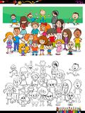 Funny children characters group coloring book. Cartoon Vector Illustration of Kids Characters Group Coloring Book Activity Royalty Free Stock Images