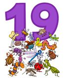 Number nineteen and cartoon insects group vector illustration