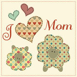 Cartoon vector illustration in a patchwork style - sheep with th. Mother sheep with their little child decorated by hearts and text. Cute cartoon vector Stock Photography