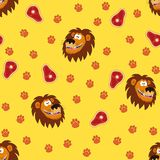 Cartoon funny lions. Seamless vector pattern. Cartoon vector illustration. Pattern with funny lions royalty free illustration