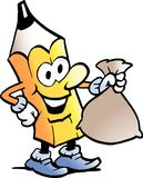 Cartoon Vector illustration of a Pencil standing and holding a Money Bag Royalty Free Stock Photography