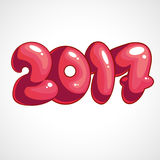 Cartoon vector illustration of 2017. Cartoon pink inscription Happy New Year 2017 Stock Images