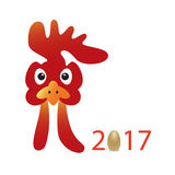 Cartoon vector illustration. red Rooster head, Royalty Free Stock Photos