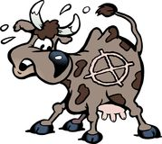 Cartoon Vector illustration of a a scared cow in the shot line Royalty Free Stock Photos