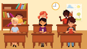 Cartoon vector illustration of school kids studying in classroom Royalty Free Stock Image