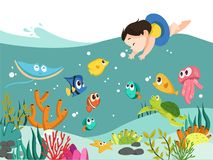 Vector - Corral and fish cartoon illustration. Sea vector illustration. Cartoon vector illustration of sea animals, corral and fish. And there`s kid diving into stock illustration