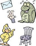 Cartoon Vector illustration of a set of funny Clipart drawings and Icons Stock Photography