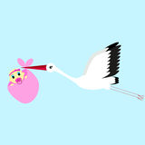 Cartoon vector illustration of a stork delivering a newborn baby girl Royalty Free Stock Photo