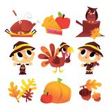 Cartoon Thanksgiving Fall Set royalty free illustration