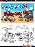 Transportation vehicles characters coloring book stock illustration