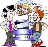 Cartoon Vector illustration of a young man there is so happy for his new auto car. Cartoon Vector illustration of an young man there is so happy for his new auto Stock Images