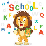 Cartoon Vector Illustrations. Back to School Theme. Colored Letters Vector. Cartoon Lion Mascot. Funny Lion. Royalty Free Stock Images
