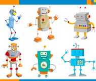 Cartoon Fantasy Robot Characters Set stock illustration