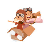 Cartoon vector kids playing pilot aviation character. Stock Photography