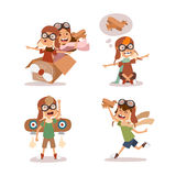 Cartoon vector kids playing pilot aviation character. Royalty Free Stock Images