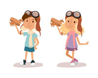Cartoon vector kids playing pilot aviation character. Stock Photo