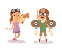 Cartoon vector kids playing pilot aviation character. Royalty Free Stock Photos