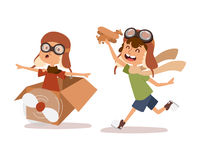 Cartoon vector kids playing pilot aviation character. Royalty Free Stock Photography