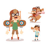 Cartoon vector kids playing pilot aviation character. Stock Image