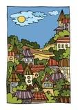 Cartoon vector landscape with city Royalty Free Stock Photos