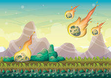 Cartoon vector landscape with meteor background with separated layers for game art and animation. Game design asset in 2d graphic Stock Images