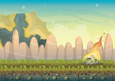 Cartoon vector landscape with meteor background with separated layers for game art and animation game design asset. In 2d graphic Royalty Free Stock Image